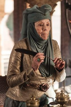 Diana Rigg plays Lady Olenna Redwyne in Game of Thrones.