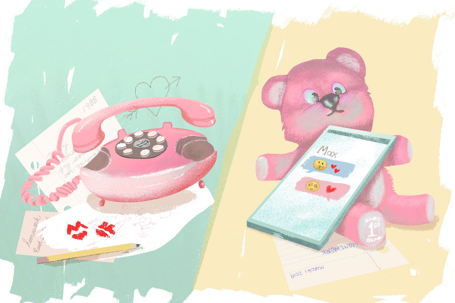 A telephone with written notes and a pencil scattered by the side, and a teddy bear showing texts exchanged with a boy named Max