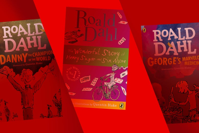 The book covers of Danny the Champion of the World, The Wonderful Story of Henry Sugar and Six More, and George's Marvelous Medicine. They are bathed in the red color of the Netflix logo.
