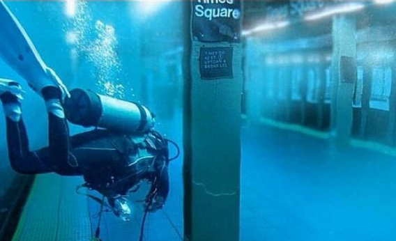 Fake picture of Times Square subway station underwater