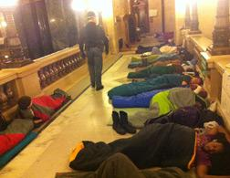 Sleeping in the Wisconsin Capitol. Click image to expand.