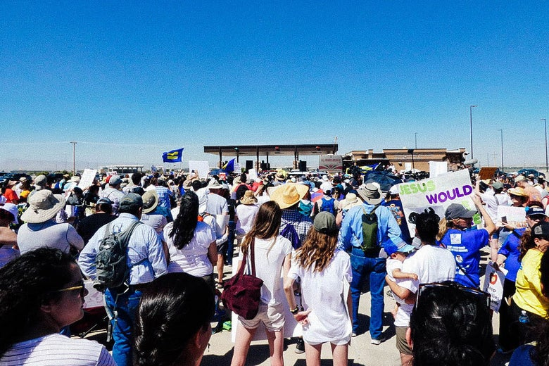 Protesters at the Tornillo, Texas, child detention facility on Sunday.