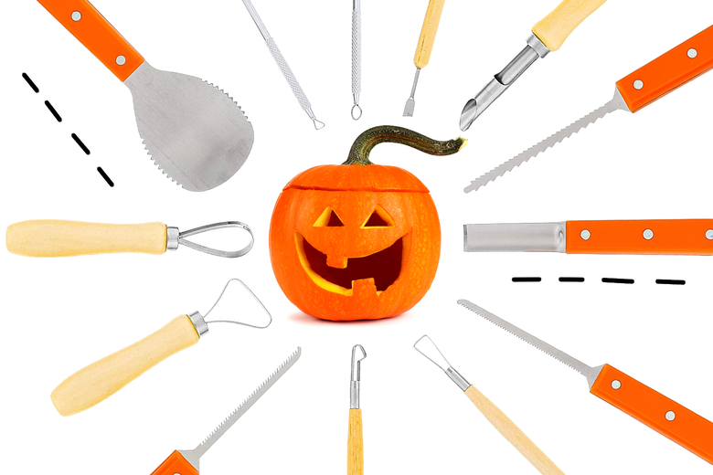 Tools for carving a pumpkin.