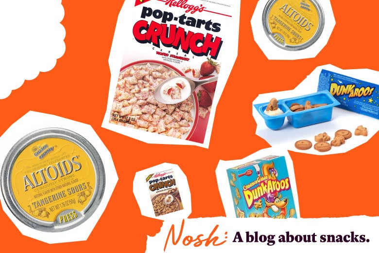 Pop-Tarts Crunch, Altoids Tangerine Sours, and Dunk-a-Roos.