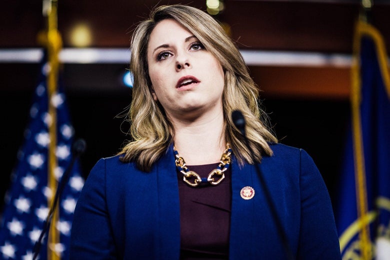 Then-Rep. Katie Hill is caught mid-word during a news conference demanding the production of documents related to Americans health care in the Texas v. United States lawsuit.