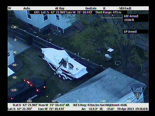 the boat in which Boston Marathon bombing suspect Dzhokhar A. Ts
