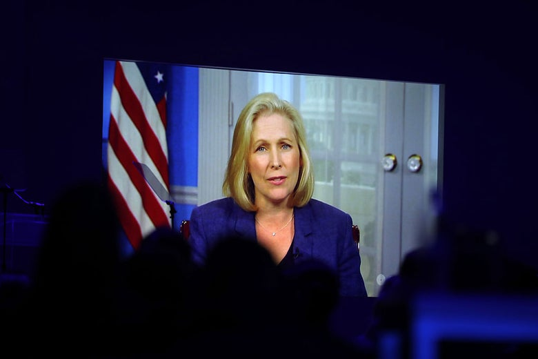 Kirsten Gillibrand speaking remotely to a group in New York City in 2016.