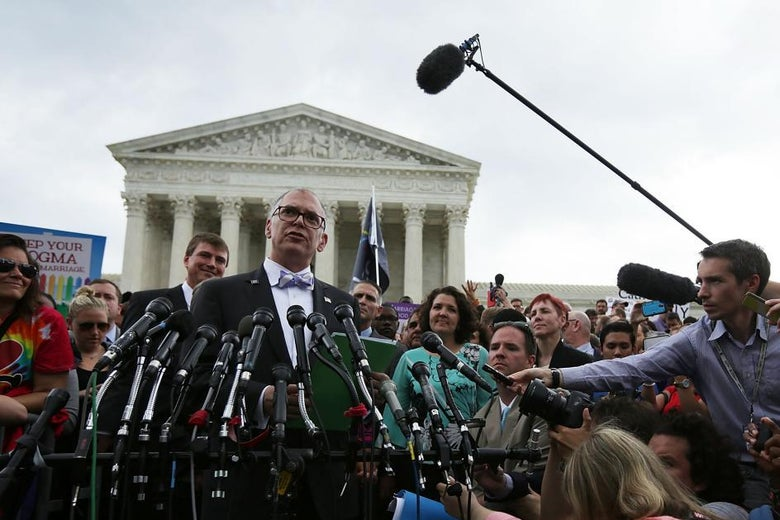 Jim Obergefell swarmed by press in front of the Supreme Court building.