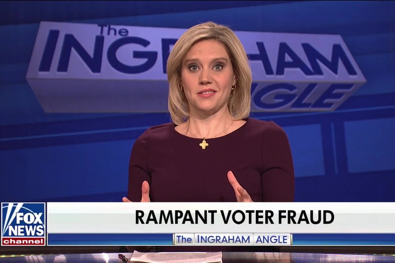 On Saturday Night Live's Cold Open, Laura Ingraham Looks Into Voter Fraud, Facebook, and, of Course, Vaping