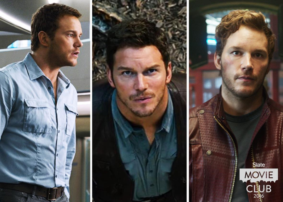 Collage of Chris Pratt in and Passengers, Jurassic World, and Guardians of the Galaxy.