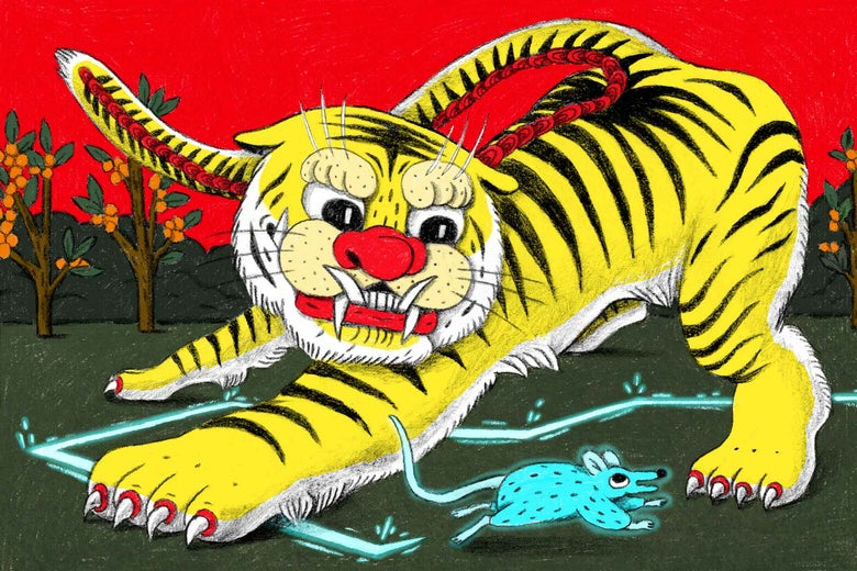 A Chinese-style tiger tries to catch a mouse.