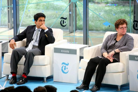 Khan Academy Founder Sal Khan and Amherst College President Biddy Martin speak during the New York Times' Schools For Tomorrow Conference on Sept. 17, 2013, in New York.