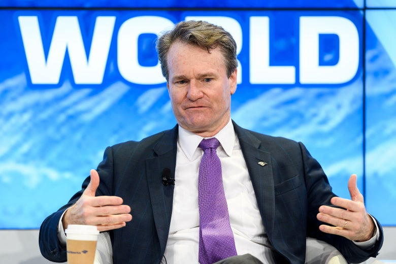 Bank of America Chaiman and CEO Brian Moynihan gestures while speaking during a session on the opening day of the World Economic Forum (WEF) 2018 annual meeting, on January 23, 2018 in Davos, eastern Switzerland. / AFP PHOTO / Fabrice COFFRINI        (Photo credit should read FABRICE COFFRINI/AFP/Getty Images)