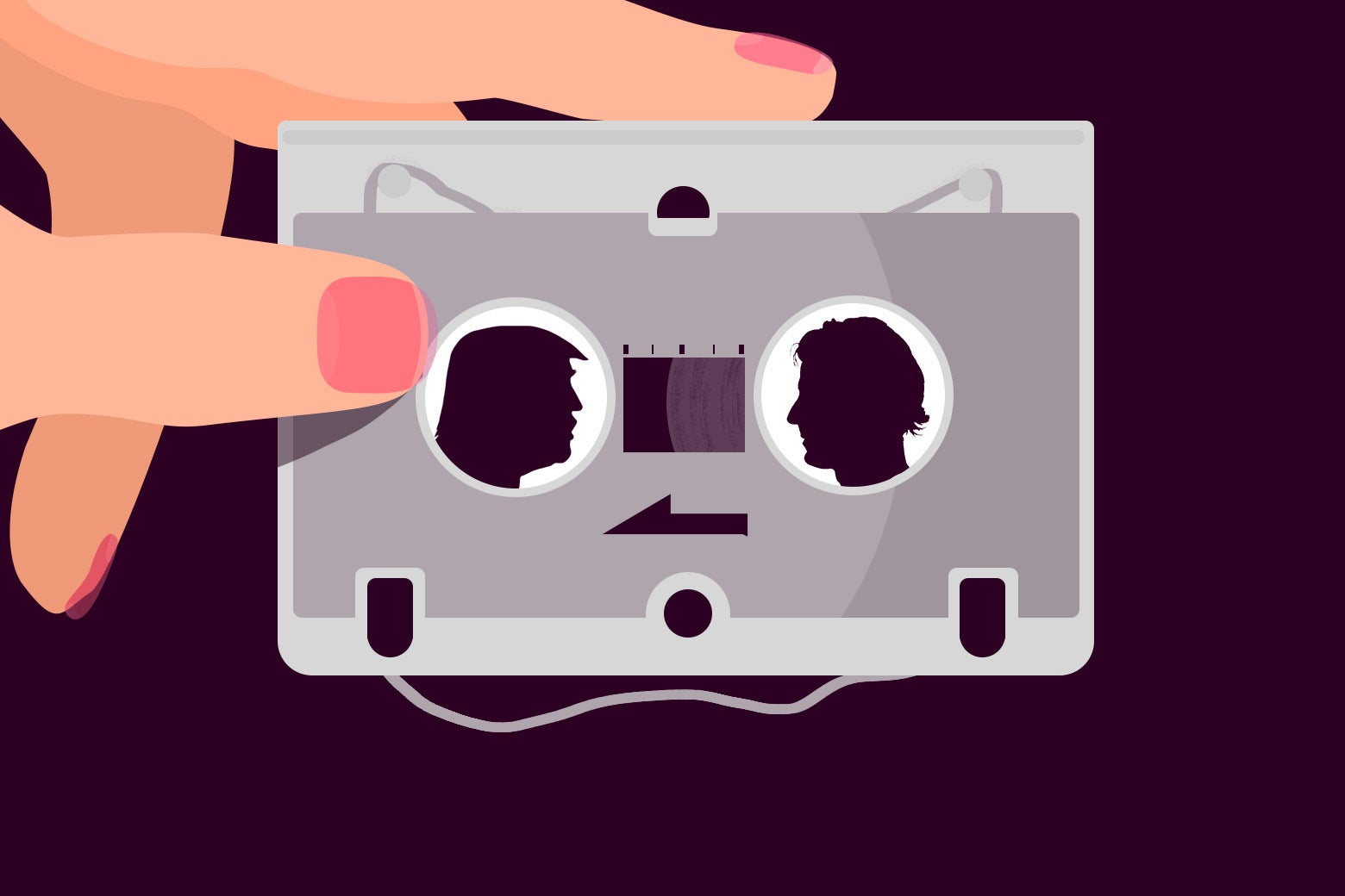 Illustration of a woman holding a microcassette tape of her husband and Donald Trump in an interview.