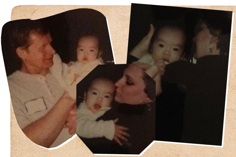 Three photos of the author with her parents as a baby on the day she was adopted.