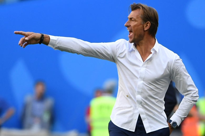 Morocco's coach Herve Renard gestures from the sidelines during the Russia 2018 World Cup Group B football match between Morocco and Iran at the Saint Petersburg Stadium in Saint Petersburg on June 15, 2018. (Photo by Paul ELLIS / AFP) / RESTRICTED TO EDITORIAL USE - NO MOBILE PUSH ALERTS/DOWNLOADS        (Photo credit should read PAUL ELLIS/AFP/Getty Images)