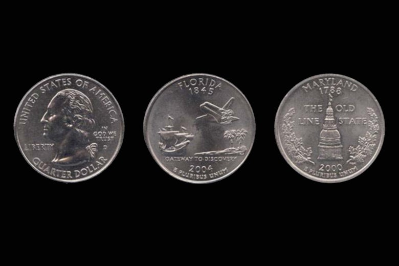 Two U.S. state quarters included as cargo on New Horizons.