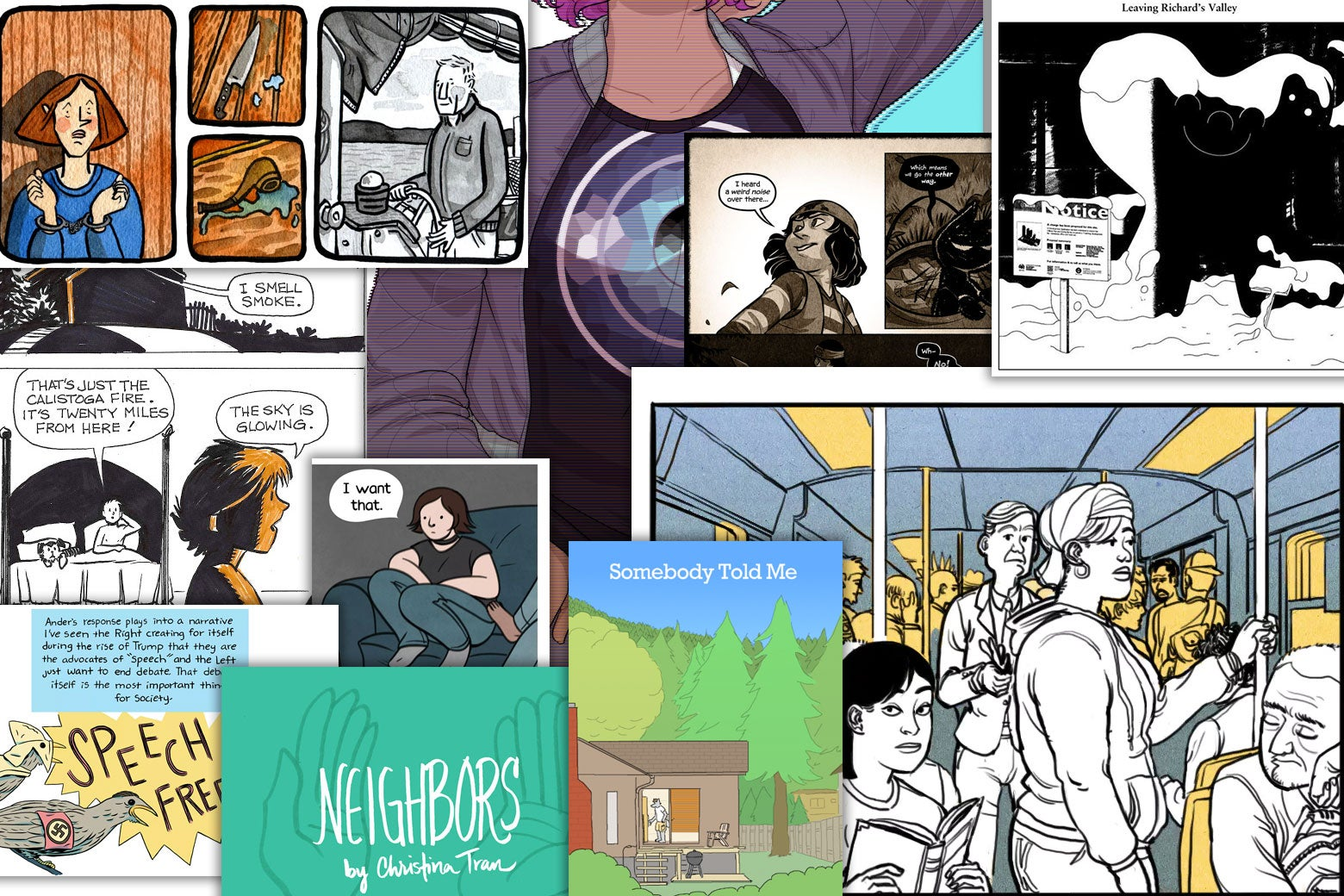 Collage of Cartoonist Studio Prize web comic nominees.