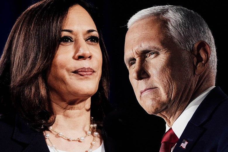 Kamala Harris's head on the right, Mike Pence's on the left