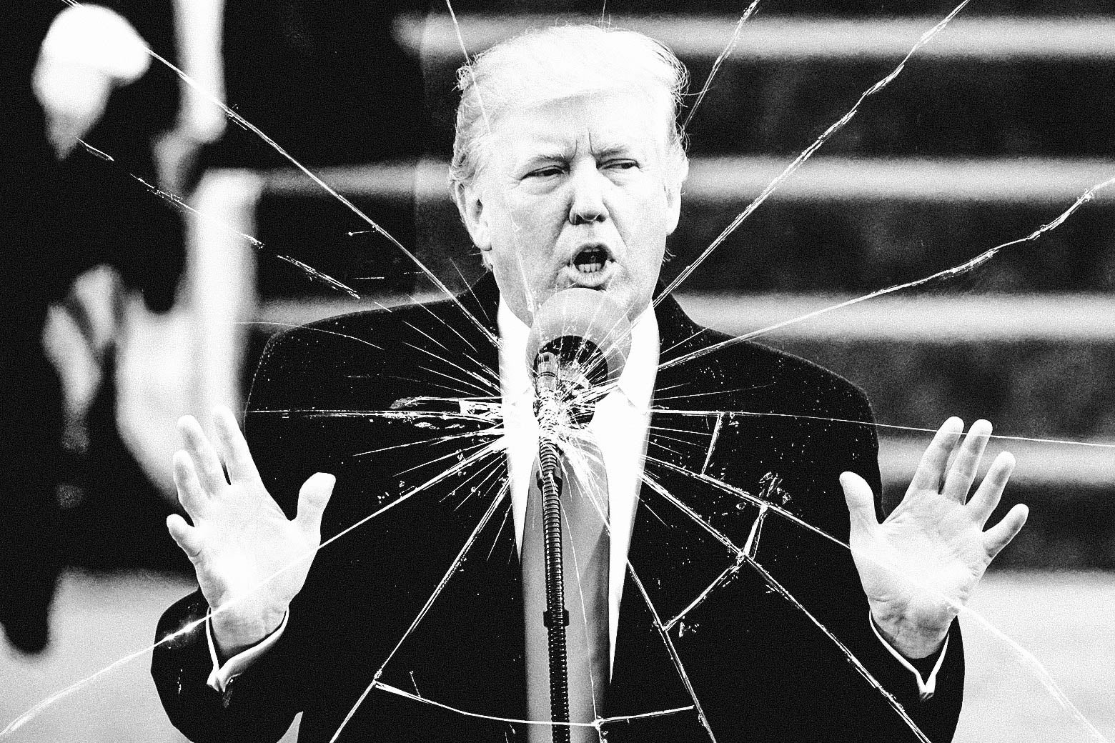 Photo illustration of Trump speaking, but the effect is shattered glass. Like he broke his promises.