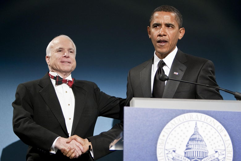 John McCain and Barack Obama share a handshake