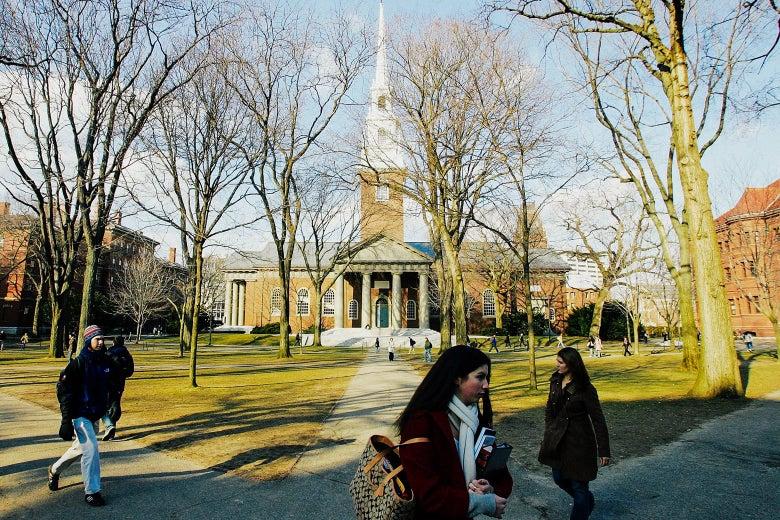 Students at Harvard University walk through the campus.