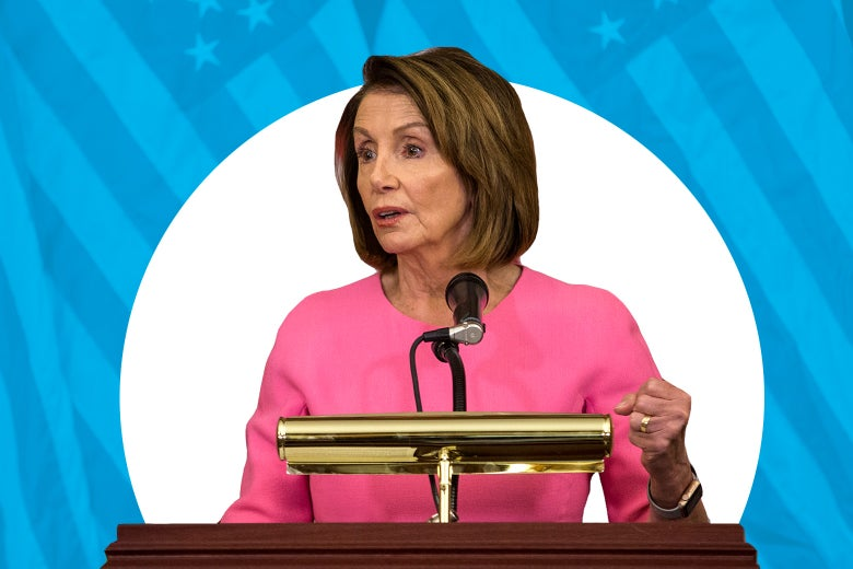 Photo illustration of Nancy Pelosi with stylized American flag patterns in the background.