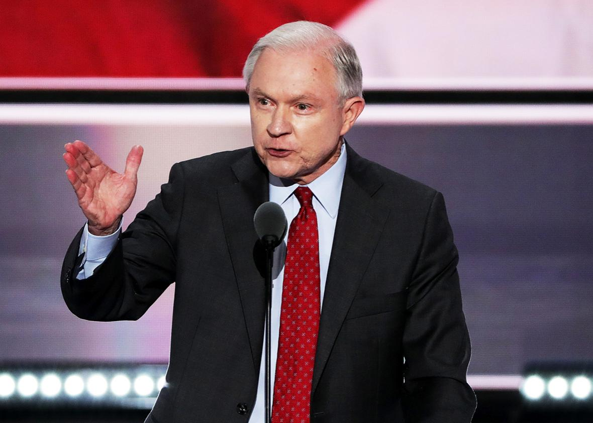 Sen. Jeff Sessions delivers a speech during the opening of the second day of the Republican National Convention on July 19, 2016 at the Quicken Loans Arena in Cleveland, Ohio.