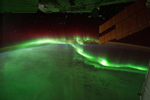 Orion and the aurora seen from the International Space Station