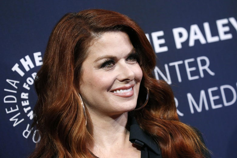 Debra Messing on a Paley Center red carpet.