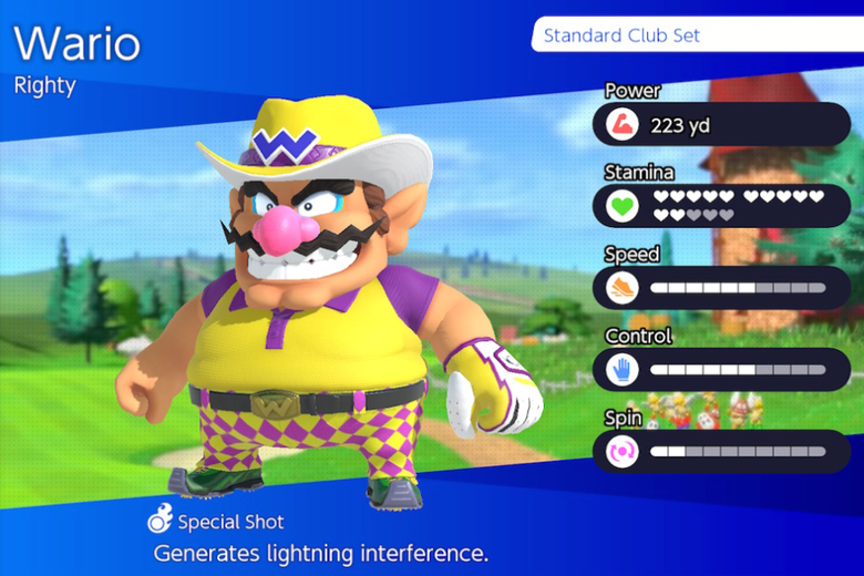 Wario character selection screen.