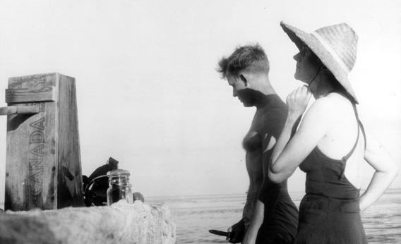 Rachel Carson, right, with wildlife artist Bob Hines in the Florida Keys around 1955.