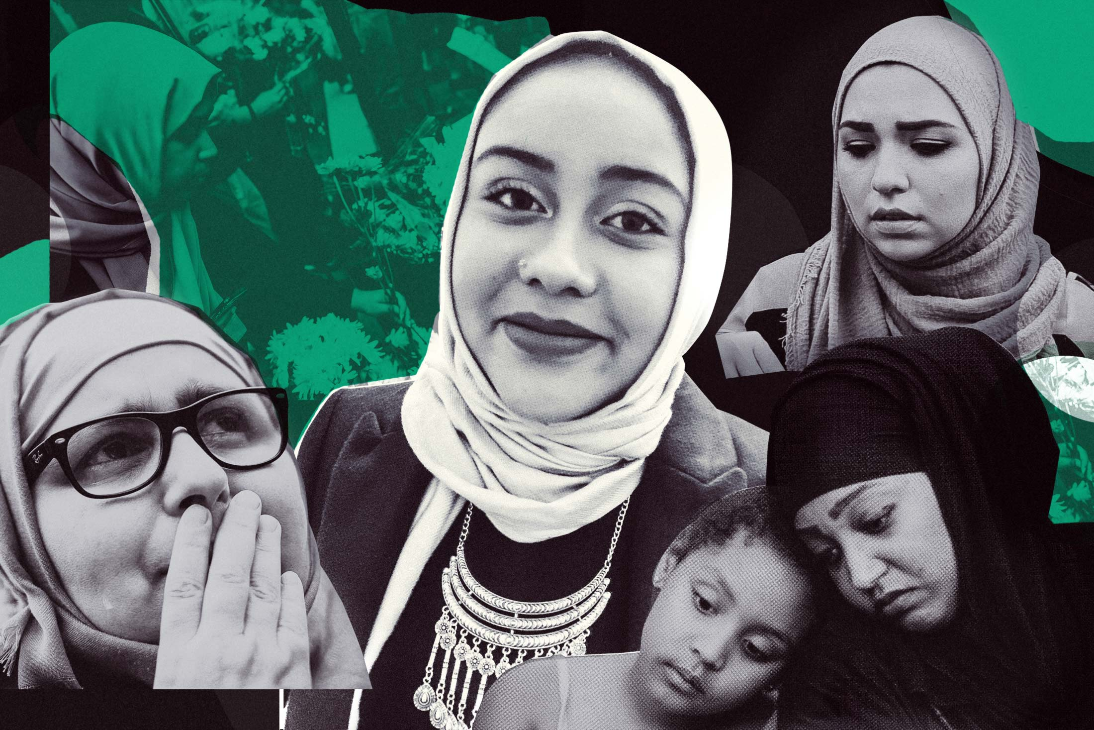 Nabra Hassanen (center), surrounded by attendants of a vigil in her memory, in Reston, Virginia, on June 21, 2017.