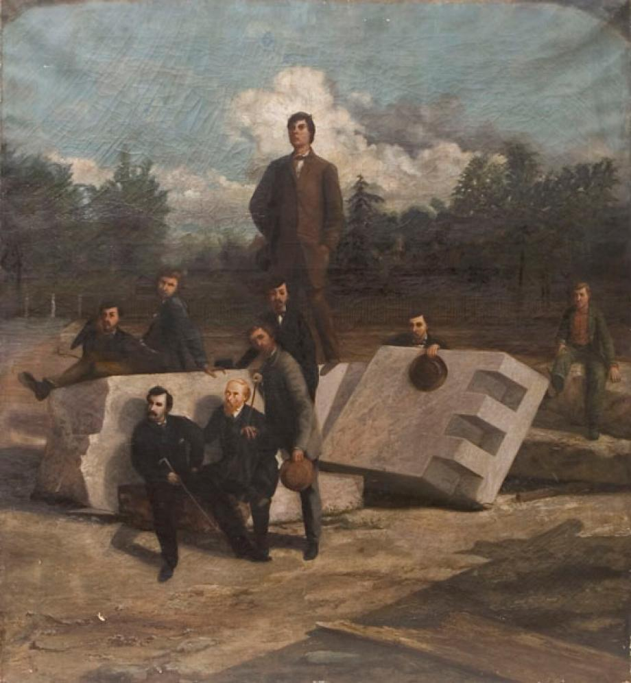 Lew Wallace's painting of the Lincoln assassination conspirators, based on the sketches he made while sitting on the tribunal that tried them.