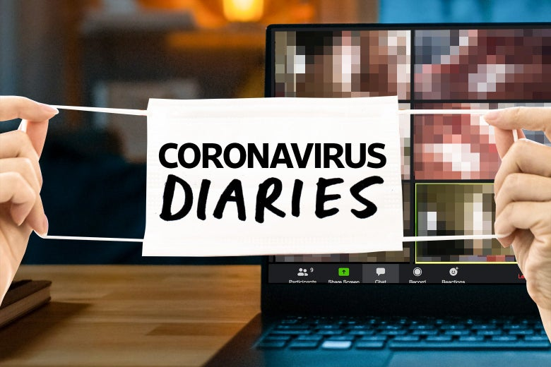 "A laptop open to Zoom with the images blurred out behind a mask that says ""Coronavirus Diaries."""