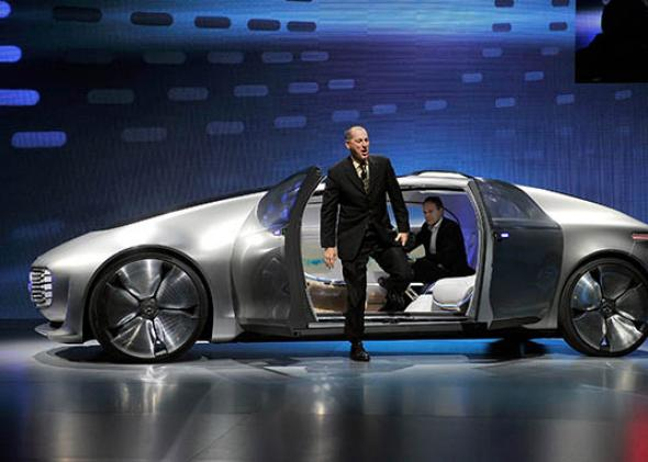 Mercedes-Benz F015 autonomous driving automobile after it was unveiled at a Mercedes-Benz press event for the 2015 International CES on January 5, 2015 in Las Vegas, Nevada.