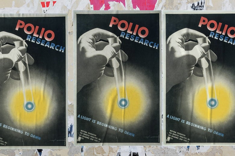 """Posters that say, """"Polio research. A light is beginning to dawn."""
