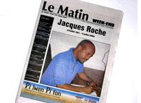 The cover of Le Matin, the newspaper Jacques Roche worked for, the day after his death.         Click image to expand.
