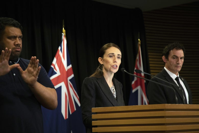 New Zealand Prime Minister Jacinda Ardern speaks during a press conference.