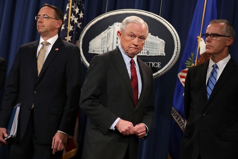 Deputy Attorney General Rod Rosenstein, Attorney General Jeff Sessions, and former Acting FBI Director Andrew McCabe at the Department of Justice July 20, 2017 in Washington, DC.