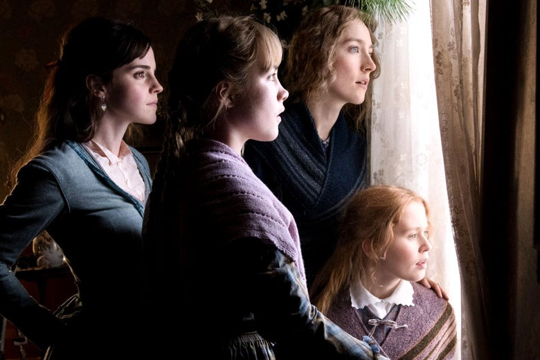 Emma Watson as Meg, Florence Pugh as Amy, Saoirse Ronan as Jo, and Eliza Scanlen as Beth, all looking out a window together.