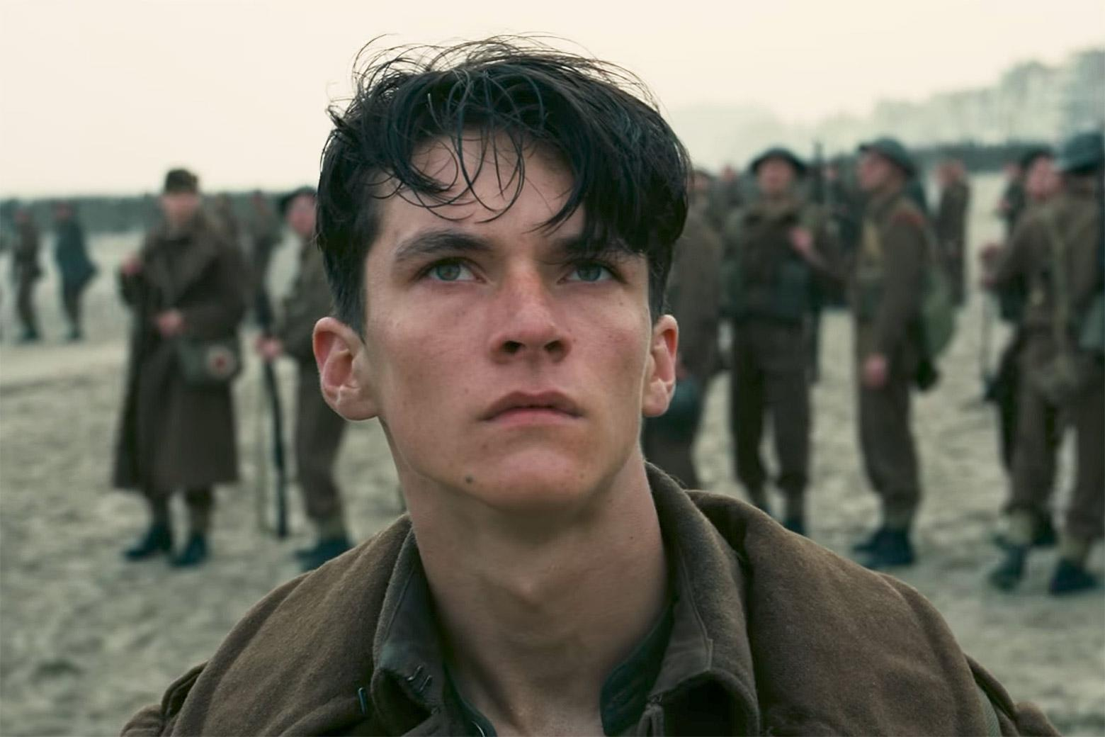 Fionn Whitehead as Tommy in Dunkirk.