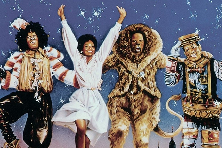 Four people jump up against a blue sky background. One wears a scarecroew outfit and a black wig; another wears a white dress; another is a humanoid lion; another is a robotic fellow.