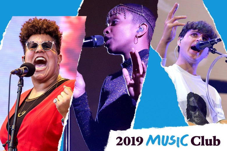"Brittany Howard, Jamila Woods, and Ezra Koenig with text in the corner that says, ""2019 Music Club."""