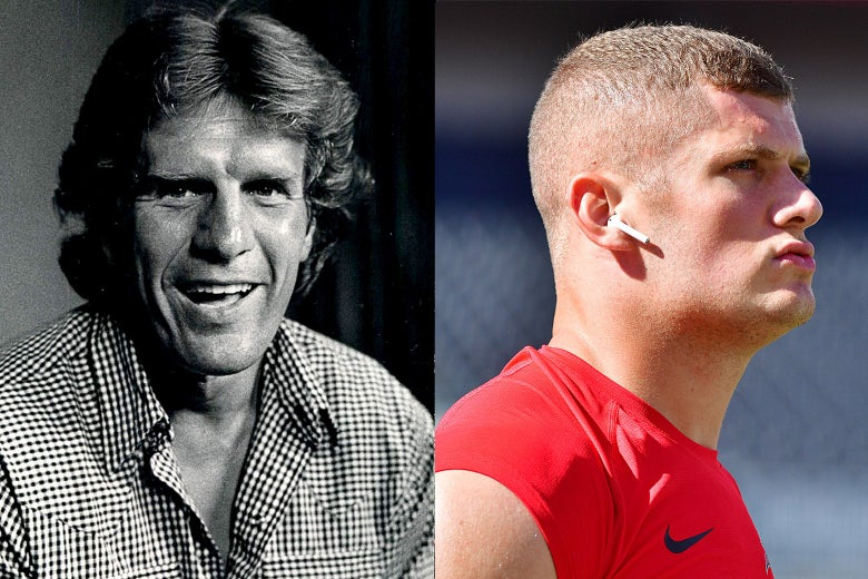 Left: Archival photo of Dave Kopay smiling in the 1970s. Right: Carl Nassib in profile, looking straight-faced with an earbud in his ear.