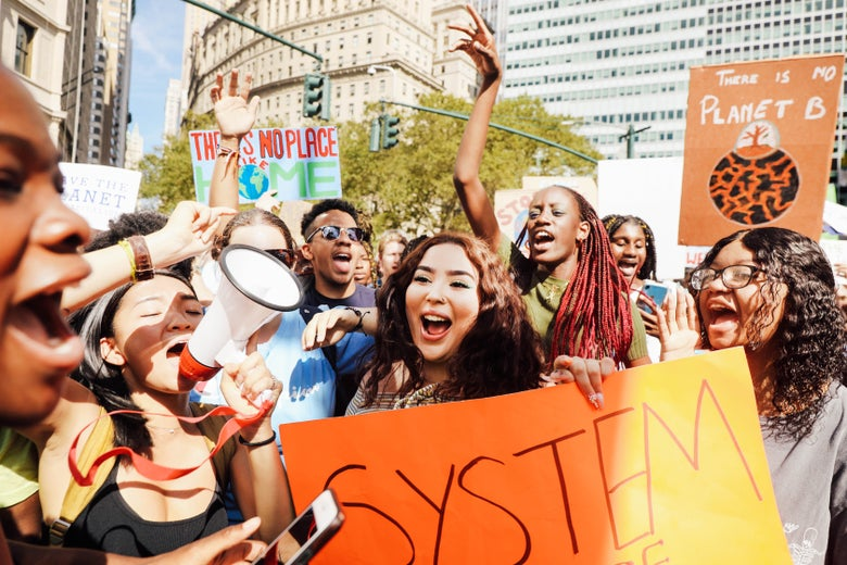New York City students chant during Friday's climate march.