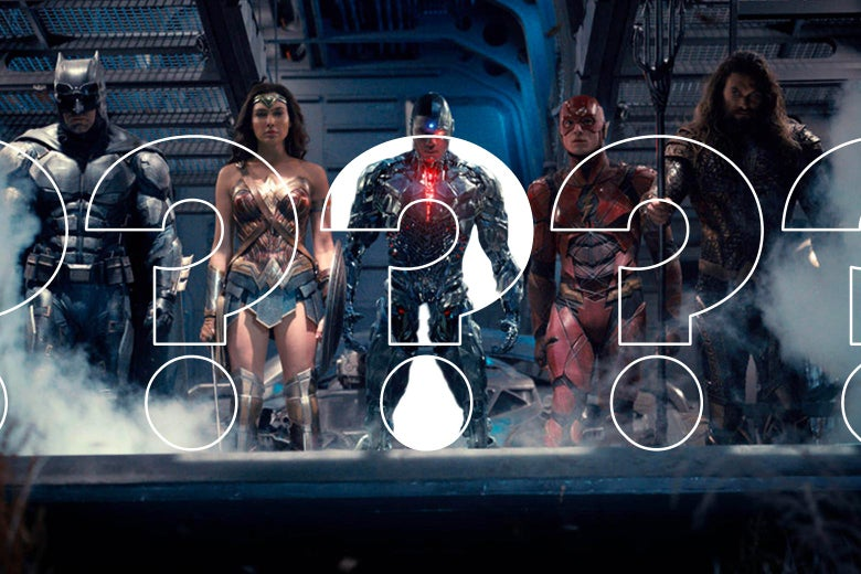 Justice League characters in a row with questions marks over them.