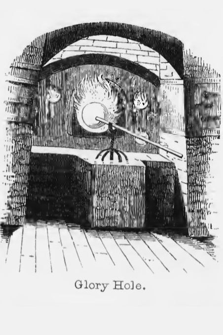 Woodcut print of a glass furnace glory hole