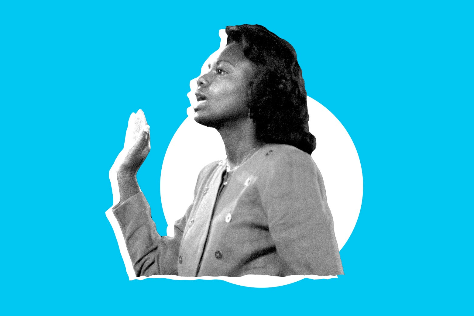 Photo illustration of Anita Hill.