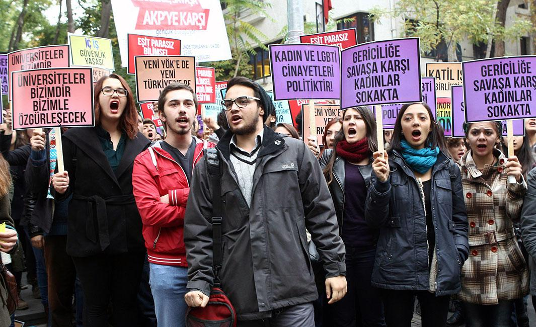 "Turkish students protest the policies of the government and the Council of Higher Education during a rally in Ankara on Nov. 9, 2014. Signs read: ""Universities belong to the students and they will be free with us"" and ""Women take to the streets against reactionaries and war"""